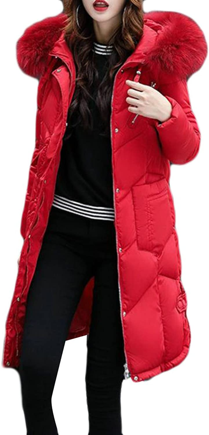 Cromoncent Womens Winter Warm Fur Collar Hooded Puffer Down Parka Jacket