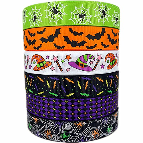 30 Yards (6 X 5 Yards) Halloween Bats Spiders Web Pattern Printed 1 Inch Grosgrain Ribbon
