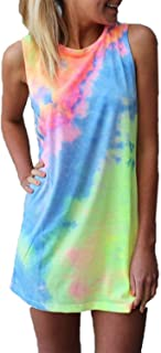 8a8fa04b93 MAXIMGR Women s Summer Sleeveless Tie-dye Round Neck Rainbow Long Top Mini  Dress