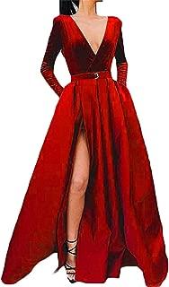 Women's Long Sleeve Prom Dress Long V Neck High Slit Evening Gowns W/ Pocket Gowns