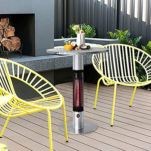 Skypatio Bistro Table Infrared Electric Outdoor Heater,Patio Heating Tower with Golden Tube LED Lights,Stainless Steel,360 Degrees of Radiant Heat,1500W