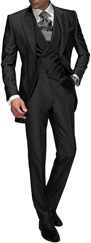 Frank Men's Handsome 3 Pieces Tailcoat Suit Set Business Suit for Men Formal Wedding Attire 2019
