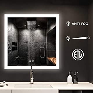smartrun Wall Mounted Led Lighted Backlit Mirror, Square Bathroom Vanity Mirrors, Defogger Control Button Dimmable Light 36