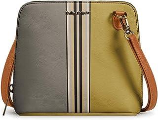 DailyObjects Olive & Mustard Trapeze Sling Crossbody Bag for girls and women | Vegan leather, Stylish, Sturdy, Zip closure...