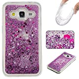 Rosepark Galaxy Core Prime Case, Core Prime Liquid Case, Creative Design Flowing Liquid Floating Bling Glitter Sparkle TPU Case Cover for Samsung Galaxy Core Prime G360(Purple)