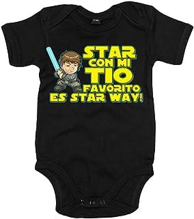 9d56f6dc Body bebé Star Wars Star con mi tio favorito es Star Way Luke Skywalker -  Negro