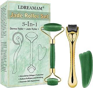 Rodillo de Jade,3 en 1 Dermaroller,Facial Masaje Piedra,rodillo facial titanio,Masajeador Facial Antienvejecimiento Con He...