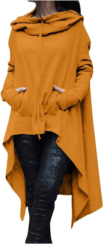 Forwelly Women Plus Size Hoodies Long Sleeve Pullover Tops Plain Hooded Sweatshirt Sweater Irregular Blouse