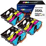 GPC Image 33XL Cartouches d'encre Compatible pour Epson 33XL 33 XL pour Epson Expression Premium XP-540 XP-530 XP-830 XP-7100 XP-900 XP-640 XP-630 XP-635 XP-645 (15 Pack)