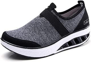 ZYEN Womens Comfortable Walking Shoes Fashion Slip On Sneakers Platform Wedge Mesh Loafers Shoes