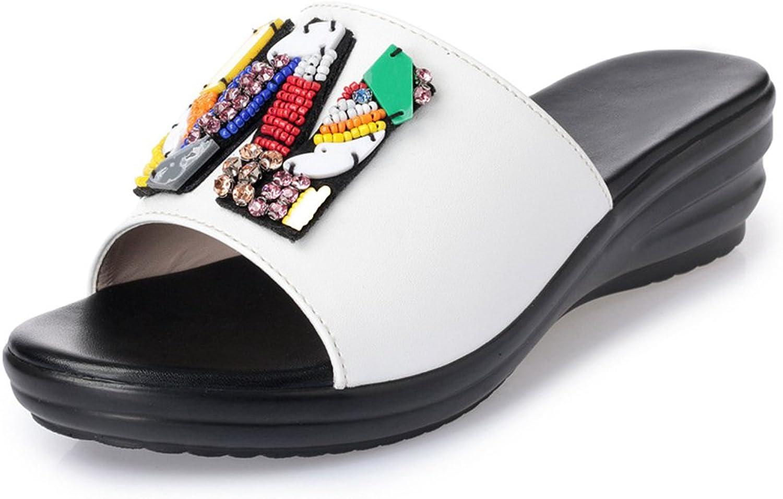 Btrada Comfortable Wedge Sandals for Women Summer Anti-Slip Slide Platforms