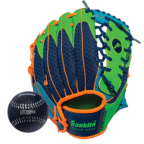 Franklin Sports Teeball Glove - Left and Right Handed Youth Fielding Glove - Meshtek Series - Synthetic Leather Baseball Glove - Ready To Play Glove - 9.5 Inch Left Hand Throw with Ball - Navy/Lime/Orange