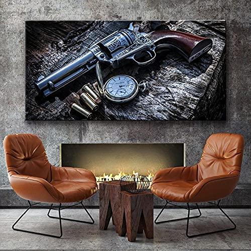 Cuadro En Lienzo 1 Piezas Reloj Bolsillo Revolver Weapon Gun 1 Piezas Pintura Sobre Lienzo,1 Piezas Imagen Impresión,Pintura Decoración Pared,Canvas 1 Piezas,Tejido No Tejido Moderna 1 Piezas 50X70Cm
