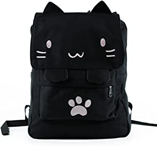 Black College Cute Cat Embroidery Canvas School Laptop Backpack Bags for Women Kids Plus Size Japanese Cartoon Kitty Paw Schoolbag Ruchsack Girls Boys Outdoor Accessories Daypack Bookbag