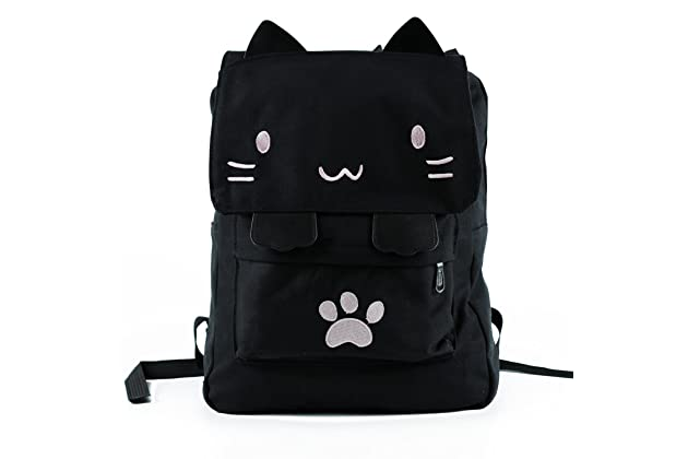 88ccd2cd64fa Black College Cute Cat Embroidery Canvas School Laptop Backpack Bags For Women  Kids Plus Size Japanese Cartoon Kitty Paw Schoolbag Ruchsack Girls Boys ...