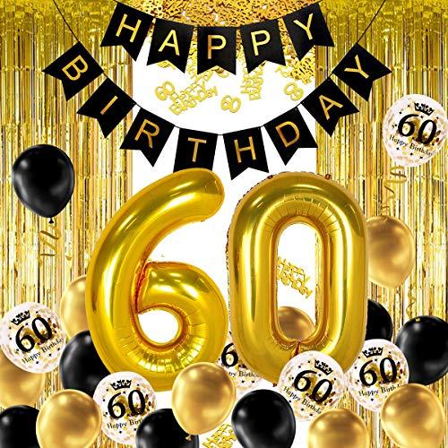 iZoeL Decoración para fiesta de cumpleaños de 60 años, diseño de helio, número 60, XXL, 2 franjas doradas, confeti de látex, confeti de mesa para hombre y niña y mujer aniversario
