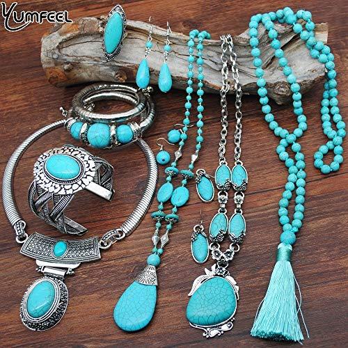 Quarter Conjunto de Joyas de Pulsera Turquesa, Collar Chapado en Plata Vintage, Pendientes, Anillos, Conjuntos de Joyas para Mujeres