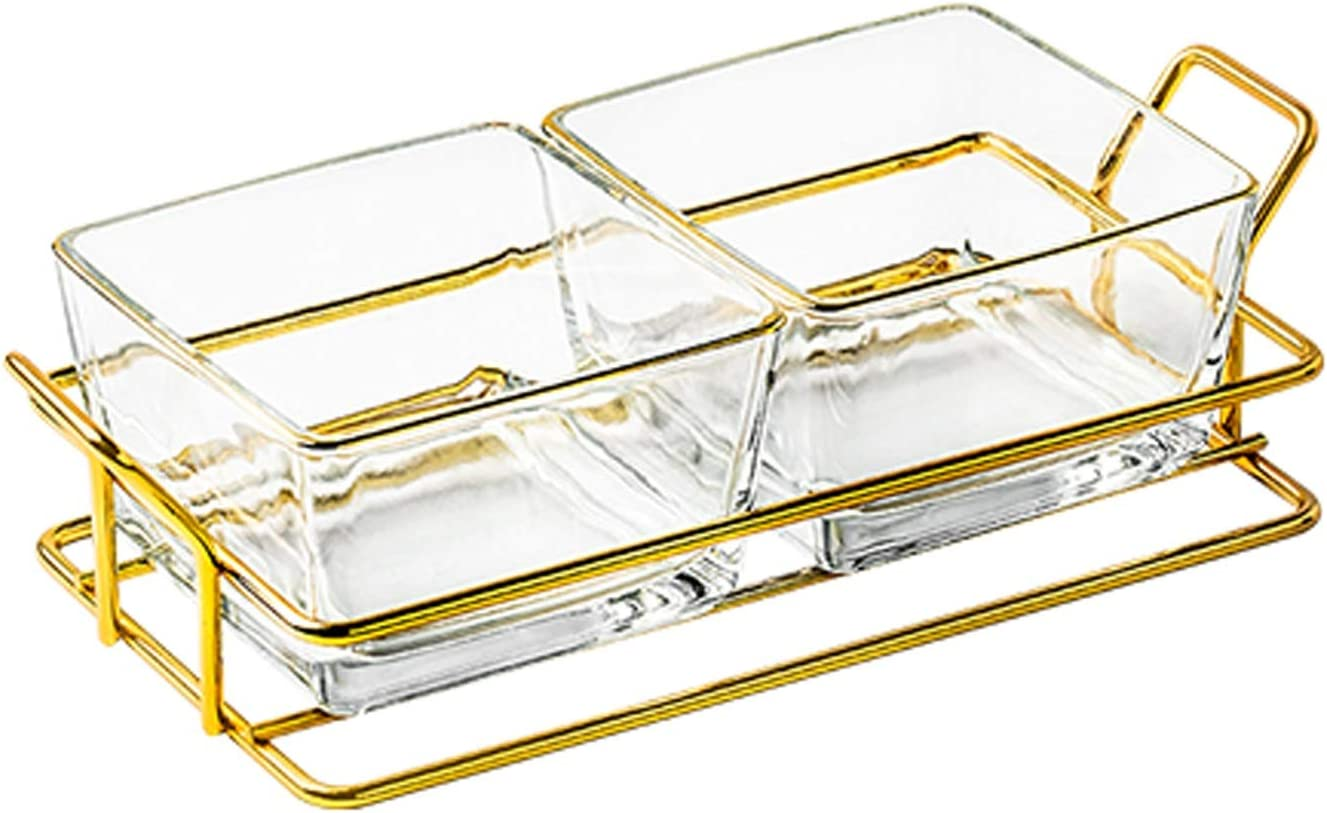 Seasoning Dishes Glass Dip Bowls with Tray Sales of SALE items from new works Metal for Snack Max 77% OFF Good