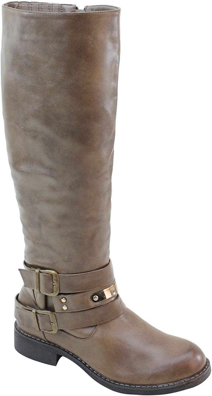 Fourever Funky 4everfunky Women's Double Buckles Zipper Low Heel Knee High Boots