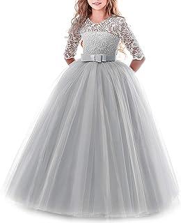 baf49c0c98ab7 IWEMEK Enfants Fille Robe de Carnaval Princesse Longue en Dentelle avec  Bowknot Demoiselle d honneur