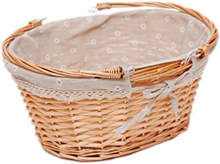 Oypeip Wicker Basket Gift Baskets Empty Oval Willow Woven Picnic Basket Cheap Easter Candy Basket Large Storage Basket Wine Basket with Handle Egg Gathering Wedding Basket (Nature)