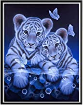 ELECDON DIY 5D Diamond Painting by Number Kit Cute Tiger Rhinestone Embroidery Cross Stitch Ornaments Arts Craft Canvas Wa...