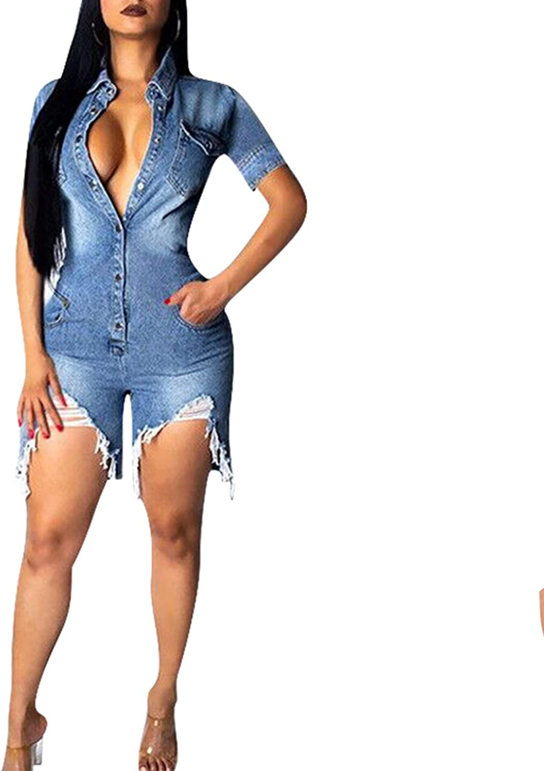 IyMoo Womens Sexy Jeans Genuine Over item handling ☆ Jumpsuits Down Button - Distresse Ripped