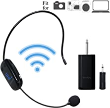 Wireless Microphone Headset Bluetooth, 115ft Stable Wireless Transmission Hand-free, Headworn Mic for Handheld Vocal Mic 2 in 1 Rechargeable for DSLR Camera Recording, Voice amplifier, Pa System ect