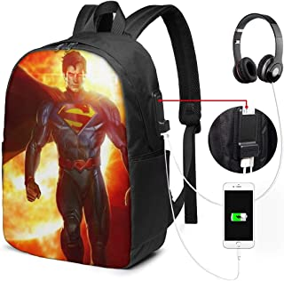 Su-Perman Backpack Heavy Comfortable Waterproof And Durable With Usb Charging Port And 17 Inch For Women Men Student Daypack