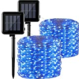 2 Cadenas de Luces Solares 300 LEDs 105 ft Luces Solares de Hadas 8 Modos Cadena de Luces Navideñas Impermeable al Aire Libre para Jardín, Fiesta, Patio, Interior o Exterior (Azul)