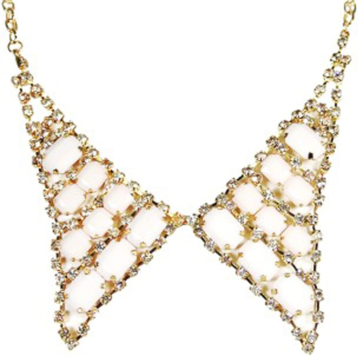 Wrapables Pointed Bow Tie Collar Necklace - Ivory