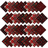 40 Pieces Christmas Precut Fabric Squares Quilting Fabric Plaid Snowflake Fabric Squares for DIY Sewing Quilting Patchwork Craft (5 Inch)