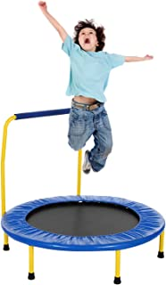 Fioleken Mini Rebounder Trampoline for Kids 36 inch Foldable with Adjustable Handle Indoor/Outdoor Use for Child Age 3+