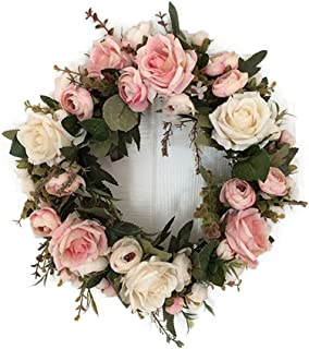 Adeeing 13'' Peony Flower Wreath Handmade Pink Floral Wreath Artificial Spring..