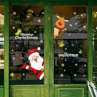 LONGTEN Merry Christmas Sticker Santa Claus Window Clings Decoration Christmas Tree Shop Mall Window Glass Wall Sticker Reindeer Christmas Snowman Snowflake Window Static Sticker Self-Adhesive (M)