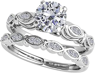 0.50 Carat Halo Round Cut Antique Diamond Bridal Ring And Band Set For Women | Art Deco Design 10K Solid White Rose Yellow Gold |1/2 Ct. Genuine Diamond Wedding/Engagement Jewelry Collection