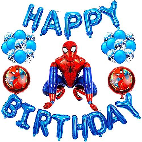 24pcs Decoracion Cumpleaños Spiderman,Globos de Superhéroe,Spiderman Fiesta Temática Set de Decoración Globos de Cumpleaños de Helio de Látex Decoraciones de Mesa Birthday Party Supplies