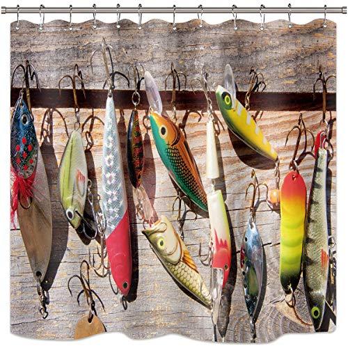 Riyidecor Ganci per Tenda da Doccia a Forma di Pesce, Colorati, in Tessuto di Poliestere, Impermeabile, 182,9 x 182,9 cm, Confezione da 12 Ganci in plastica