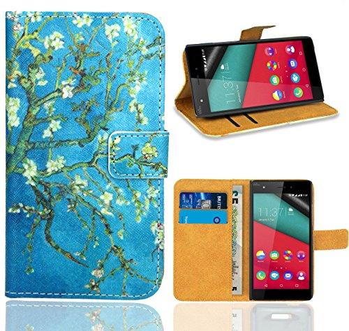 FoneExpert Wiko Pulp 4G Custodia Cover Case, Flip Case Custodia Pelle accessori Protective Portafoglio Wallet A Libro Cover per Wiko Pulp 4G