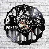 wtnhz LED-Me Encanta el póquer Escalera Real Espadas decoración de la habitación Reloj de Pared Jugando a Las Cartas Tarjetas de Juego de Las Vegas Reloj de Pared con Disco de Vinilo