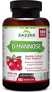 Zazzee D-Mannose 180 Veggie Capsules, 1000 mg per Serving, Pure, Potent and Fast-Acting, Extra Strength Dos...