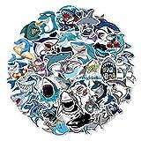 ZZHH Amazon Venta al por Mayor Caja de Viaje Personalizada de Dibujos Animados para niños monopatín refrigerador Anti-Graffiti Agua 50 Pegatina de tiburón