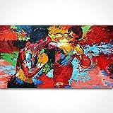 Pintado a mano Leroy Neiman Rocky vs Apollo Póster de artistas pinturas pintura abstracta sobre lienzo película de boxeo deportes, lona, 28X48inch(70x120cm)
