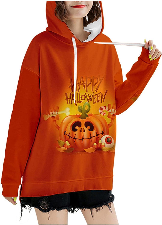 Happy Halloween Women Hooded Blouse Cute Pumpkin Pattern Hoodies Fall Drawstring Long Sleeve Pullovers