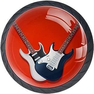 DEYYA Classic Acoustic Guitars Music Crystal Glass Drawer Knob Pull Handle 30mm Ergonomic Circle Cabinet Handle with Screws 4 PCS