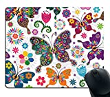 Smooffly Original Vintage Pattern Colorful Butterfly and Flower Mouse Pad Rectangle Non-Slip Rubber Mousepad Gaming Mouse Pad mat