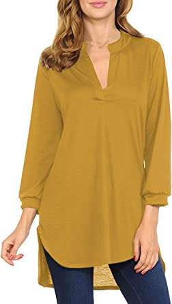 VamJump Womens Casual 3/4 Sleeve V Neck Tunic Top Loose Flowy Blouse Shirts