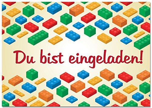 12 Einladungskarten im Set Zum Geburtstag/Kindergeburtstag mit Motiv Building Blocks und Bricks. Einladungen für Jungen und Mädchen mit Bausteinen