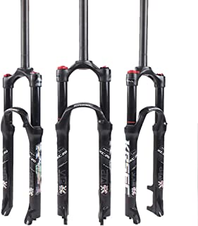 KRSEC 【US Stock 26/27.5/29 Air Mountain Bike Suspension Fork, Straight Tube 28.6mm QR 9mm Travel 120mm Manual/Crown Lockout MTB Forks, Ultralight Gas Shock Absorber XC/AM/FR Bicycle Cycling