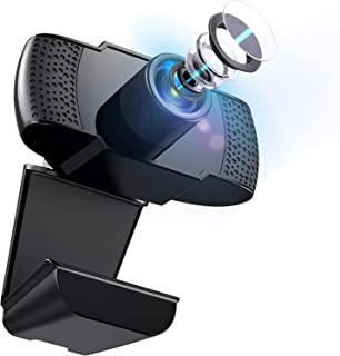Webcam with Microphone, 1080P Full HD Webcam, Auto Noise Reduction PC Laptop Desktop Webcam for Video Calling Recording Co...